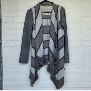 Anthropologie XS Gray striped open front cardigan